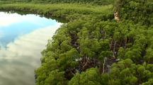 Aerial, Over Mangrove Coast Then Turn Inland, Los Haitises, Dominican Republic