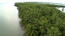 Aerial, Along Palm Coast, Los Haitises, Dominican Republic