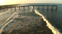 Aerial,Pass Over Fishing Pier