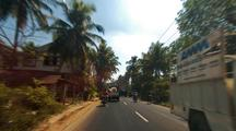Driving Through The Backroads Of Goa, India.