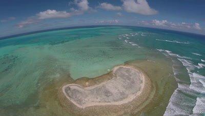 Aerial Drone shot of Velasco atoll and Ngurangel Island,Palau