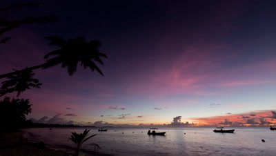 Sunset Dusk Timelapse near tropical shoreline