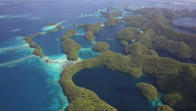 Aerial shot of Palau's Rock Islands and marine lakes