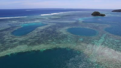 Drone shot of Coral Reef and Blue Holes in Palau