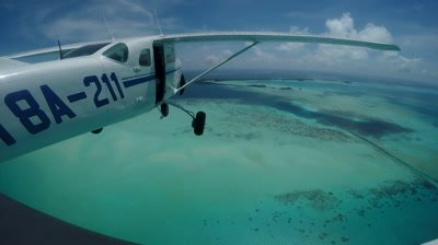 Action cam mounted externally on light aircraft as it flies over Palau's famous German Channel