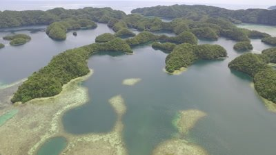 Aerial drone view of Nikko Bay and Rock Islands, Palau