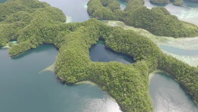 Aerial Drone view of Marine Lake in Palau