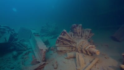 Aircraft Engines in hold of a WW2 shipwreck