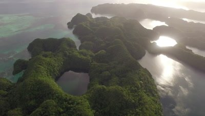 Aerial shot of Nikko Bay and Marine Lake, Palau