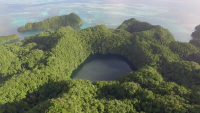 Aerial drone shot revealing Marine Lake in tropical island
