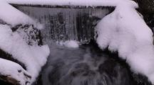 Icy Curtain And Flowing River In Winter  016