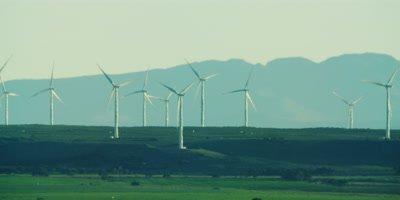 Wind Turbines - farm on horizon,medium wide