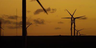 Wind Turbines - silhouette against orange sky,sunset 2