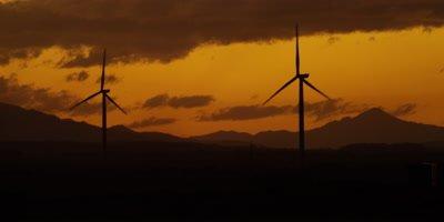 Wind Turbines - silhouette against orange sky,sunset 3