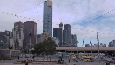 Melbourne City Victoria Australia. The bustling metropolitan city of Melbourne is know for it's architecture the Yarra river, the amazing looking Flinders Street station and it's trams.