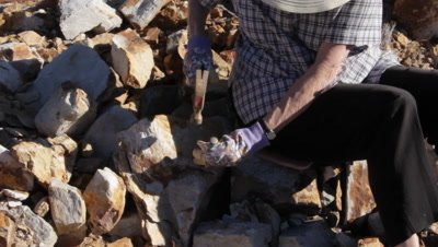 Fossicking, Fossil hunting excavation and extraction using a pick to spilt rocks to expose fossils. This is commonly done by paleontologist in search of invertebrates such as molluscs, arthropods, annelid worms and echinoderms. Fossils in clip are from the Permian.