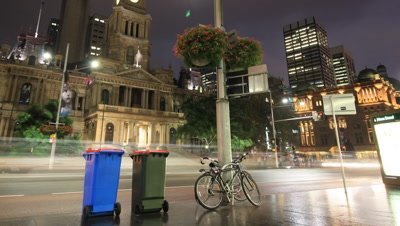 City Street Night Traffic and Commuter Pedestrian Time Lapse - Sydney City Australia
