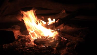 Buring wood on fire outdoor camping campfire at night