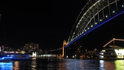 Sydney Harbour Bridge Australia Night City Landscape establishing shot