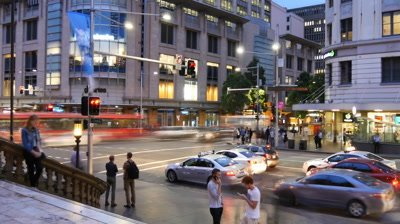 Sydney Australia Queen victoria building and Town Hall street scene