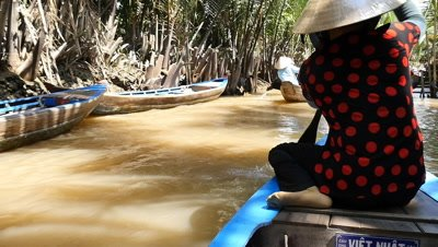 Vietnamese boat lady in Mekong Delta in southern Vietnam is a vast maze of rivers, swamps and islands, home to floating markets, pagodas and villages surrounded by rice paddies.