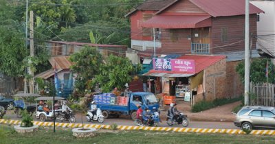 Life on the streets in Siem Reap Cambodia. Popular tourist travel destination.