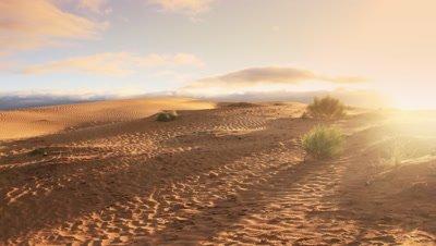 Outback Australia desert landscape sunset timelapse. Ripple sand dune desert in the harsh outback Australian dry environment that gets little rain. Sandhills near Mildura.