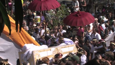 Balinese Hindu Cremation ceremony (Ngaben) of a member of the royal family (Tjokorda Puta Yuda Dharma from the family Puri Ubud) in Ubud,Bali July 28th 2012