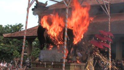 Balinese Hindu Cremation ceremony (Ngaben) of a member of the royal family (Tjokorda Puta Yuda Dharma from the family Puri Ubud) in Ubud,Bali July 28th 2012