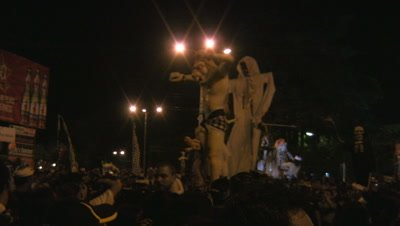 Crowded streets in Sanur (Bali) for the parade of the Ogoh-Ogoh monsters on the 22nd of March 2012,the day before Nyepi