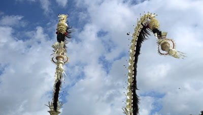 Bamboo pole decorated with coconut leafs and offerings at the end (Penjor), put for the main balinese ceremonies