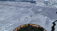 View Of A Russian Icebreaker Sailing And Breaking The Ice In The Weddell Sea, Antarctica