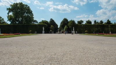 Panning time lapse of the gardens at Schonbrunn Castle, Vienna