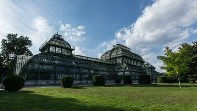 Low-angle time lapse of the Orangerie at Schonbrunn Castle