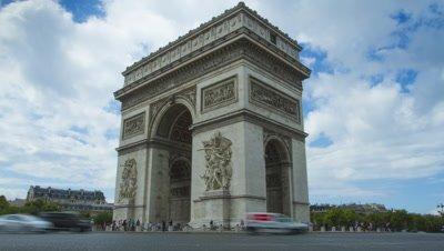 View of Arc de Triomphe in Paris, France