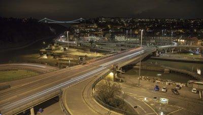 Bristol Cumberland Basin traffic at night