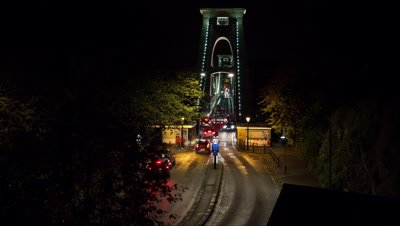 Traffic going on to Clifton suspension bridge at night