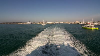 Shot from rear of Key West Express Ferry. Leaving the harbour then on the open water of the Gulf of Mexico.
