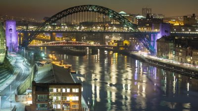 View of the Newcastle/Gateshead quayside shot from the viewing gallery in The Baltic.