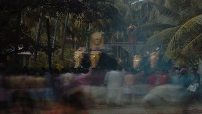 Mid shot procession of dressed temple elephants approach and pass camera with lots of people Kerala, India