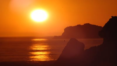 Medium wide angle silhouetted Pacific rocky shoreline with cormorants, bathed in rich orange sunset, sun sets into sea