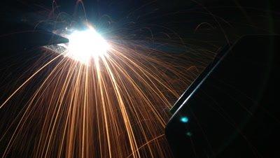 Close up welding sparks as bridge steels repaired on Golden Gate Bridge