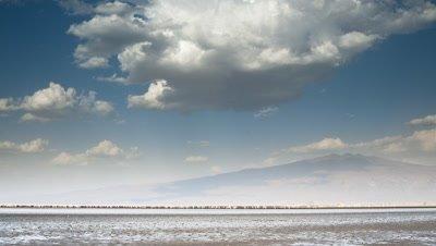 Big wide angle Lake Natron with soda flats, blue sky and long line of flamingoes