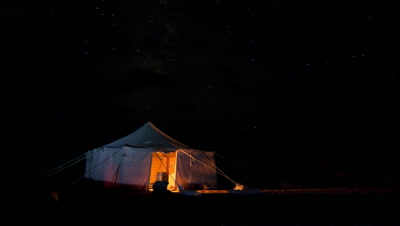 Medium wide angle Tuareg tent in the desert at night with black starry sky