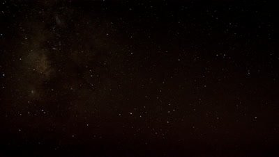 Wide angle black starry night sky moves overhead