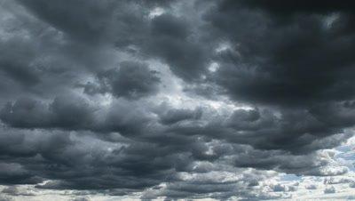 Mid shot dark thunderous cumulous rain clouds