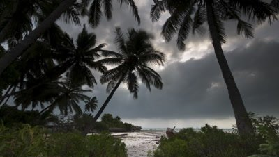 Wide angle white sandy beach framed by coconut palms with God ray piercing storm clouds rolling past