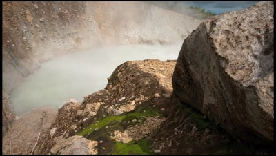 Tracking shot past rocks to reveal a boiling lake, Morne, Trois pitons National Park, Dominica