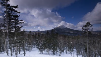 Winter sun and clouds over snow covered pine forest and mountains, Hokkaido, Japan