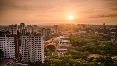High shot of Manaus from dark through sunrise, Brazil